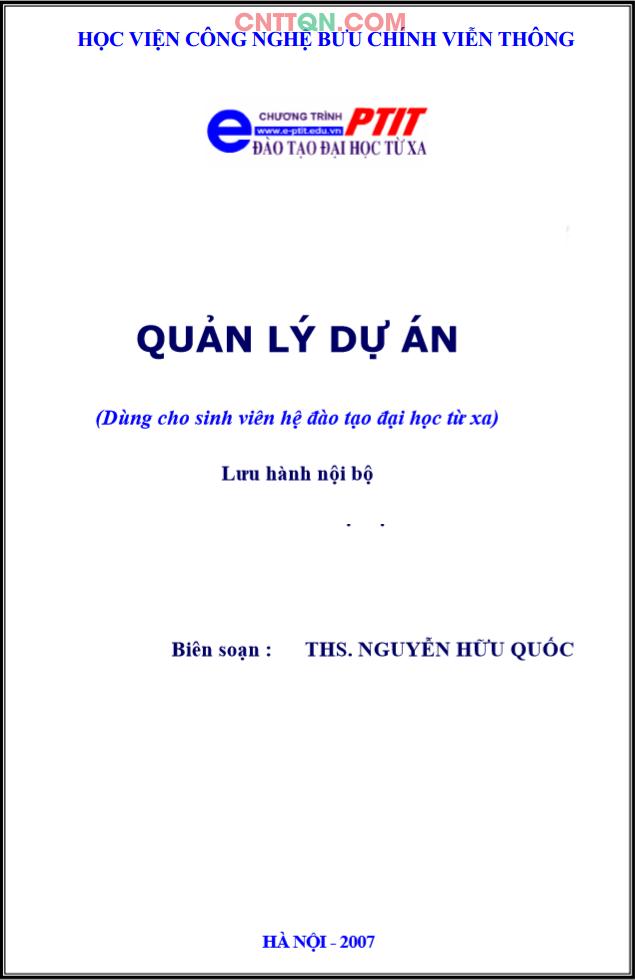 [PDF] Giáo Trình Quản lý dự án - Đào tạo từ xa PTIT