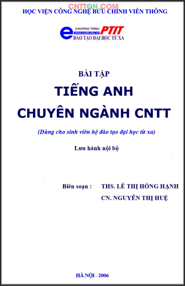 [PDF] Bài Tập Tiếng Anh Chuyên Ngành CNTT - Đào tạo từ xa PTIT