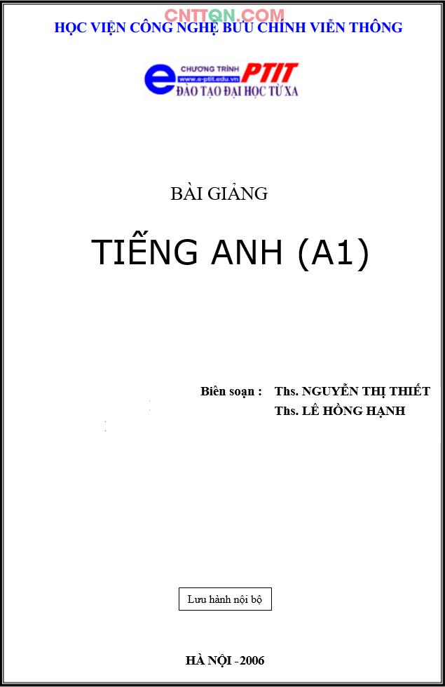 [PDF] Giáo Trình Tiếng Anh (A1) - Đào tạo từ xa PTIT