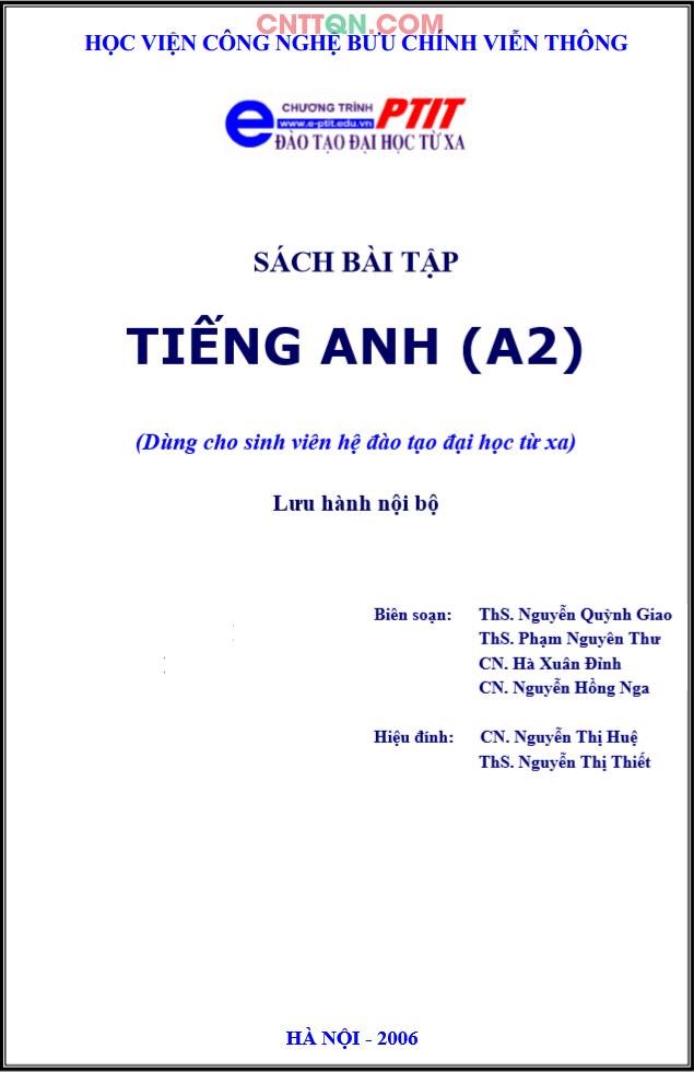 [PDF] Bài Tập Tiếng Anh (A2) - Đào tạo từ xa PTIT