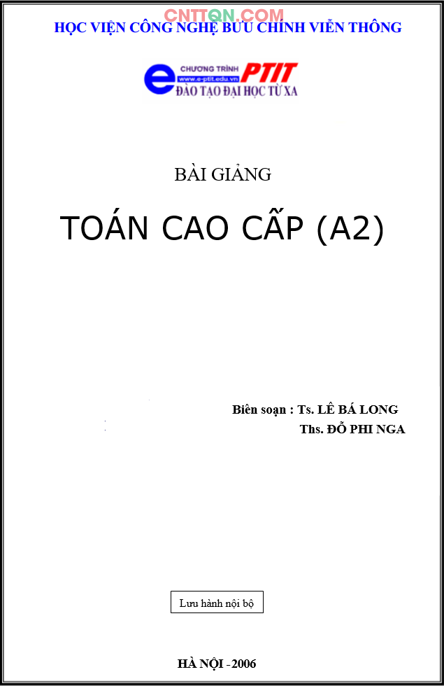 [PDF] Giáo Trình Toán Cao Cấp (A2) - Đào tạo từ xa PTIT